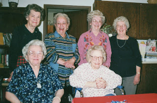 Peg (center back row) with her Sisters and Sisters-in-law, 2001