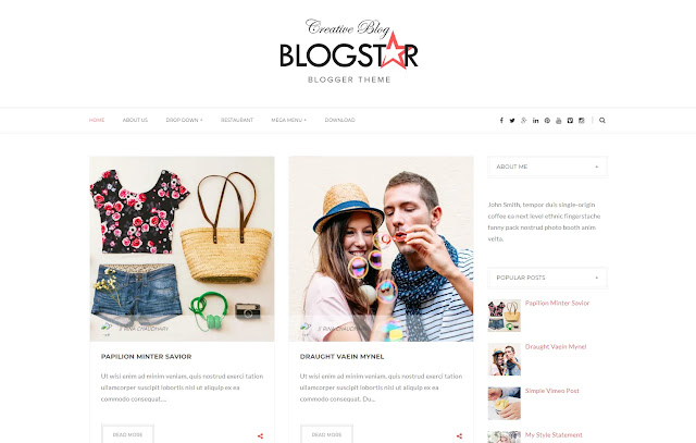 Blogstar Responsive Personal Blog Lifestyle Girly Update Fashions Tips & Tricks Blogger Template Theme