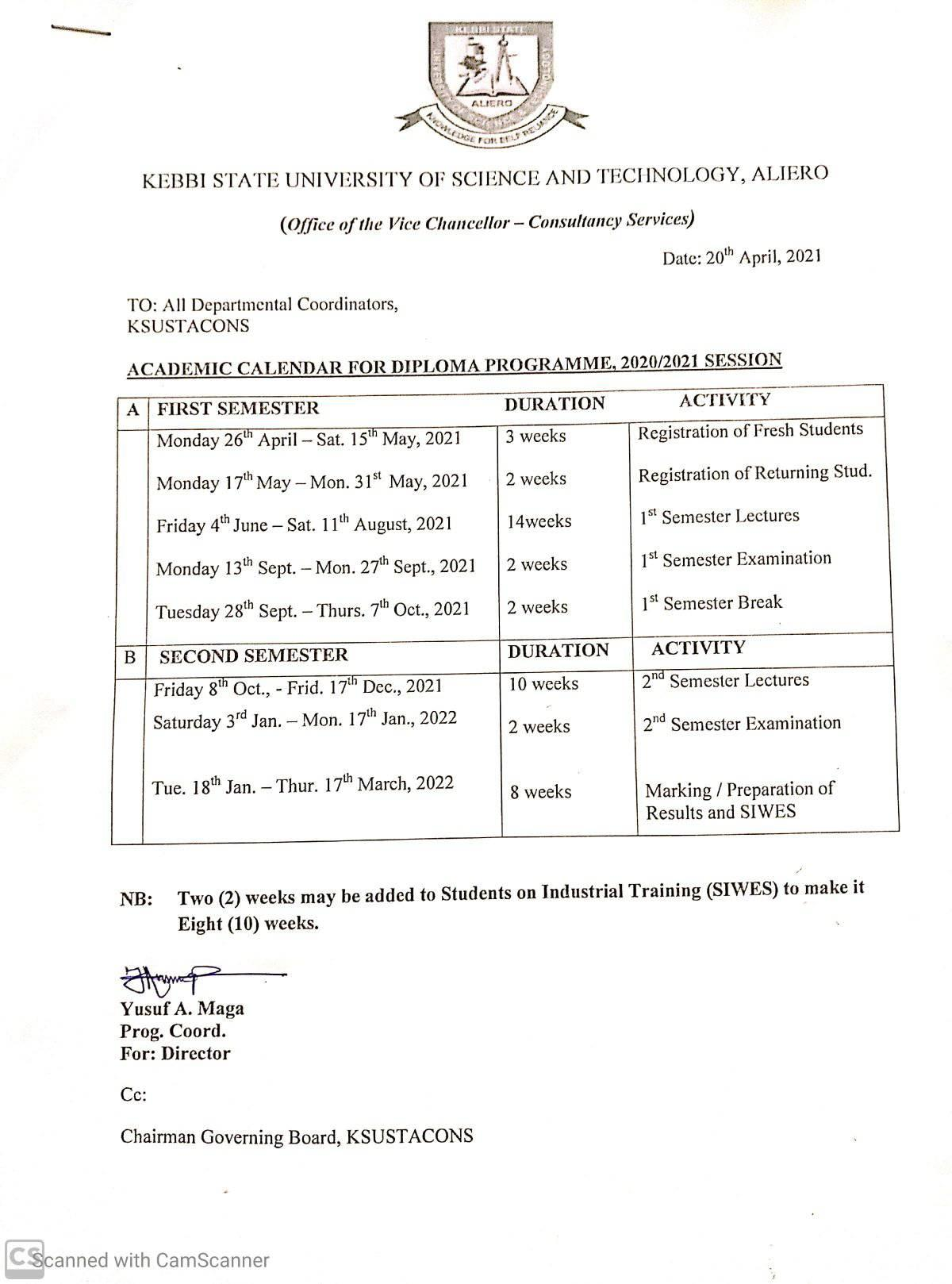 KSUSTA Diploma Academic Calendar Schedule 2020/2021