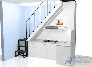 Kitchen Set Minimalis di Bawah Tangga Dengan Ruangan Sempit - Kitchen Set Tahan Cuaca Dingin - Furniture Semarang