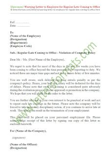 warning letter format to employee for late coming