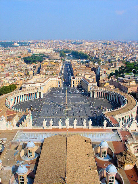 The Eternal City of Rome laid out before your eyes. This is the incredible view from atop Michelangelo's Cupola at St. Peter's Basilica in Vatican City, Rome. Photo: EuroTravelogue™. Unauthorized use is prohibited.