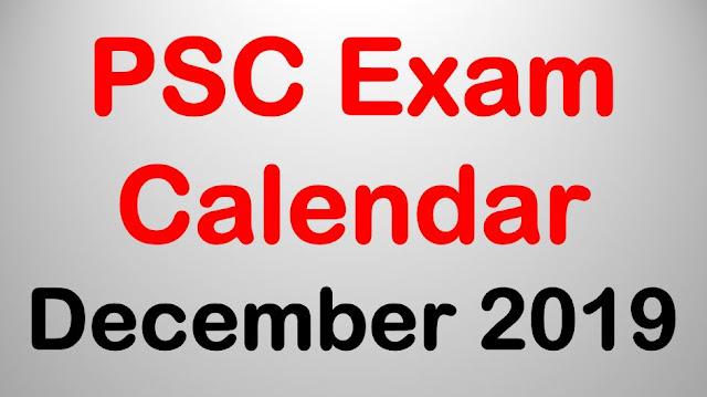PSC Exam Calendar - December 2019