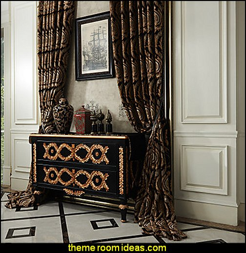 Two Panels Michelle Luxury® Rococo Floral Jacquard Eco friendly Curtains Drapes