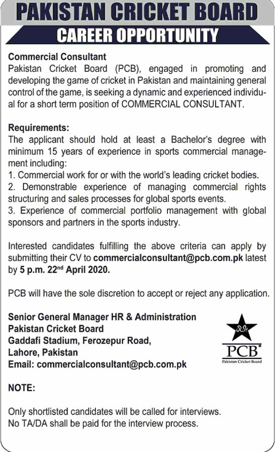 Commercial Consultant  pcb jobs