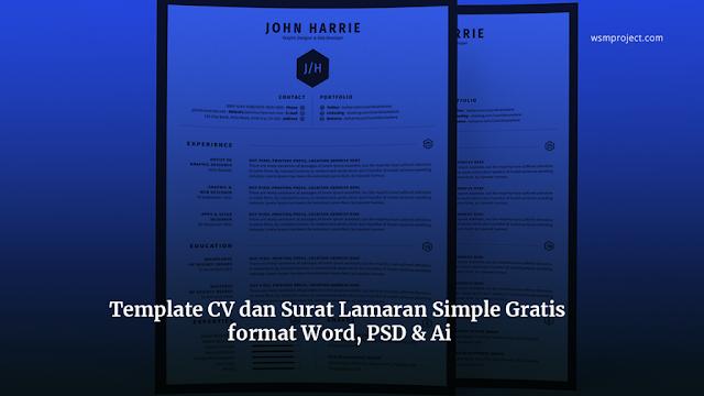 Template-CV-dan-Surat-Lamaran-Simple-Gratis-format-Word-PSD-Ai