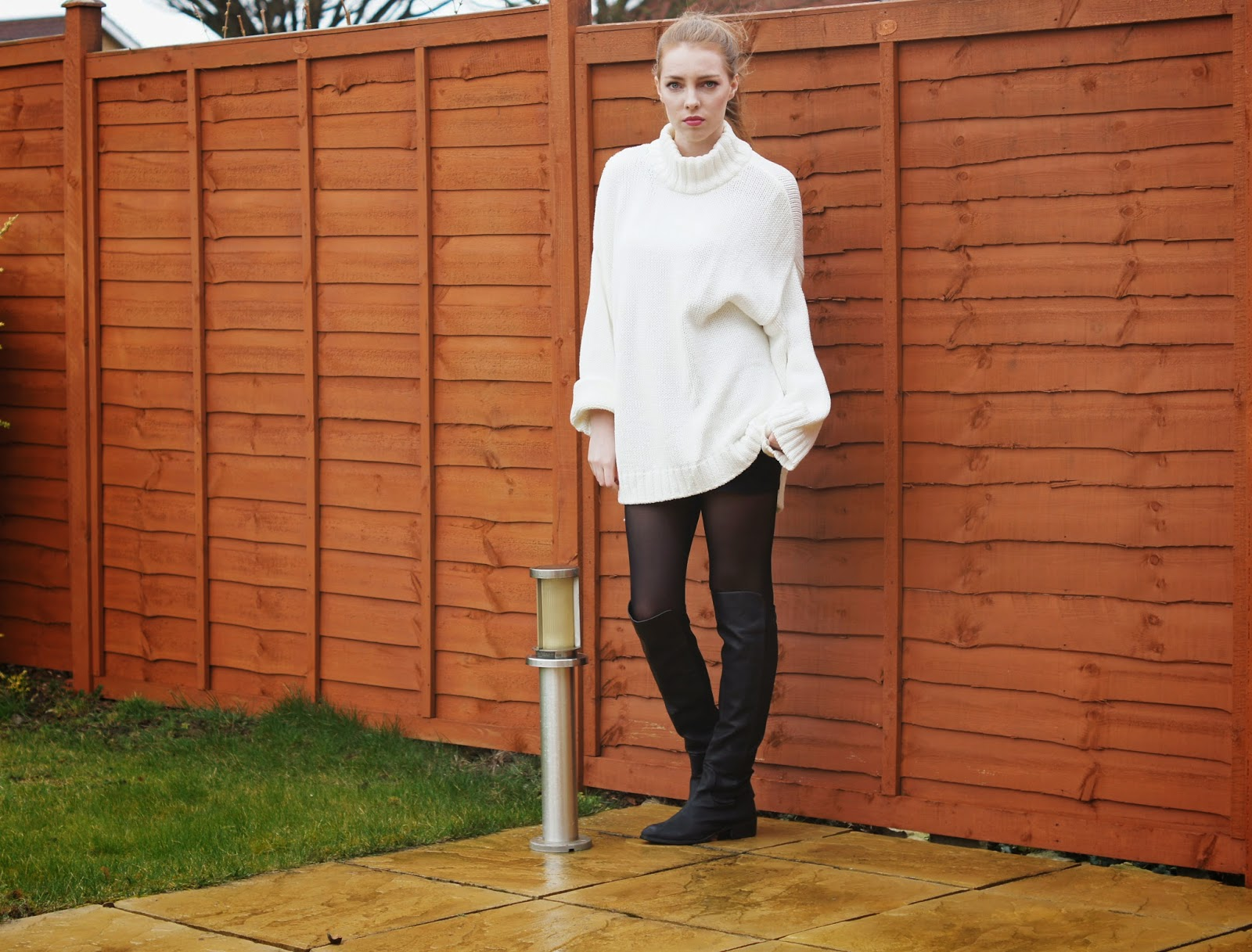 white jumper dress knee high boots