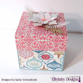 Custom Dies:  Explosion Box, Explosion Box Pockets & Layers, Mini Box, Peaceful Poinsettia, Pinecones & Pine Branches, Treat Tags, Small Bow, Double Stitched Stars, Paper Collection: Christmas 2014