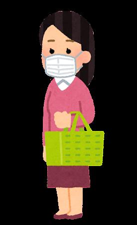 マスクを付けて買い物をする人のイラスト(女性)