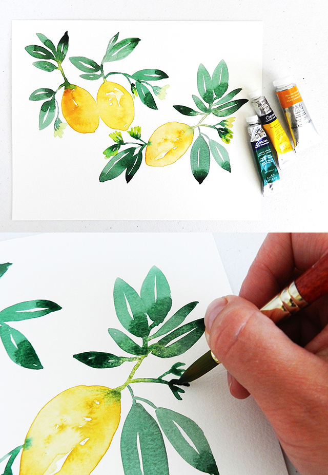 Free Art Tutorial: Learn How To Paint Watercolor Lemons In Seven Easy Steps!  Photos and Instructions by Elise Engh Studios.