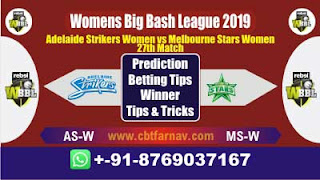 WBBL 2019 MSW vs ASW 27th Match Prediction Today Womens Big Bash League 2019