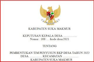 Download SK Tim Penyusun RKP Desa Tahun 2022