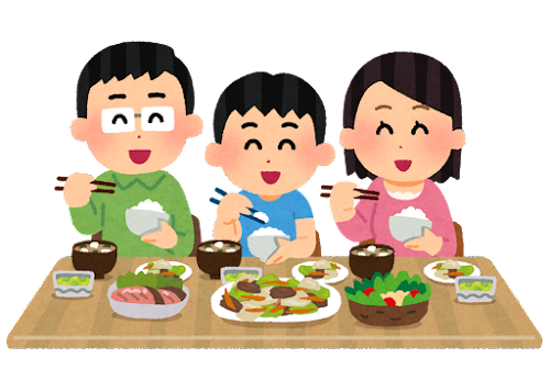 楽しそうに食事をする家族のイラスト