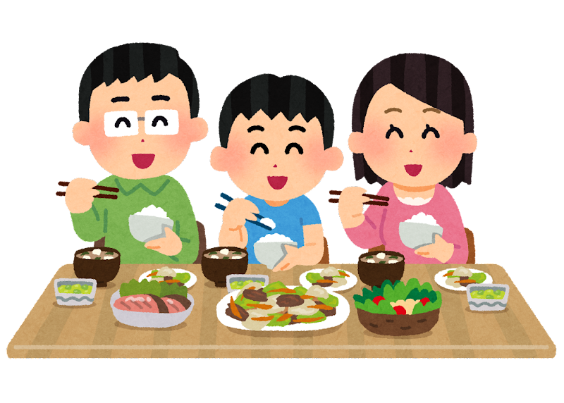 楽しそうに食事をする家族のイラスト かわいいフリー素材集 いらすとや