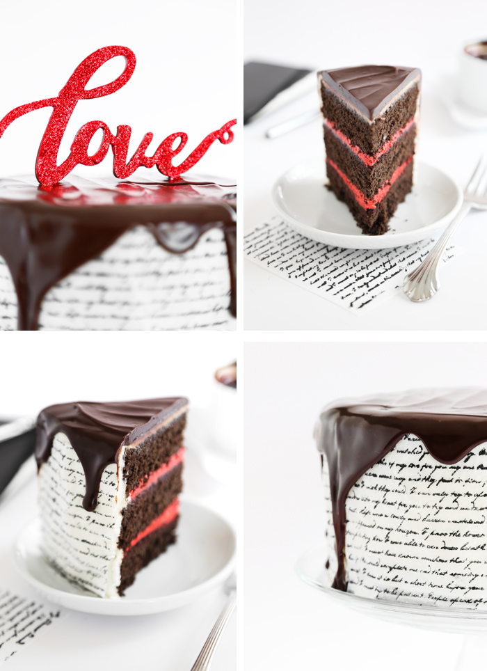 Love Letter Tuxedo Cake with Stamped Wafer Paper Technique