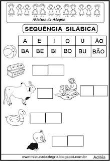 Atividades de alfabetização, silabário