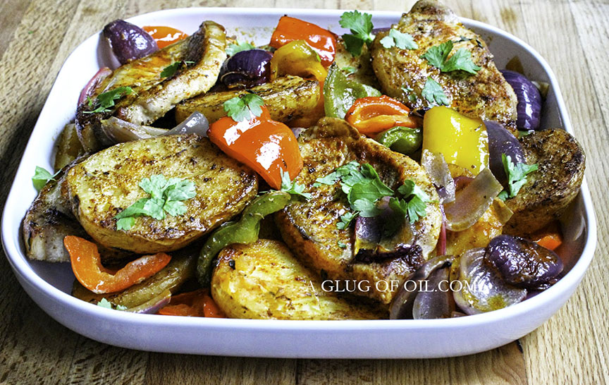 Pork traybake with potatoes and peppers
