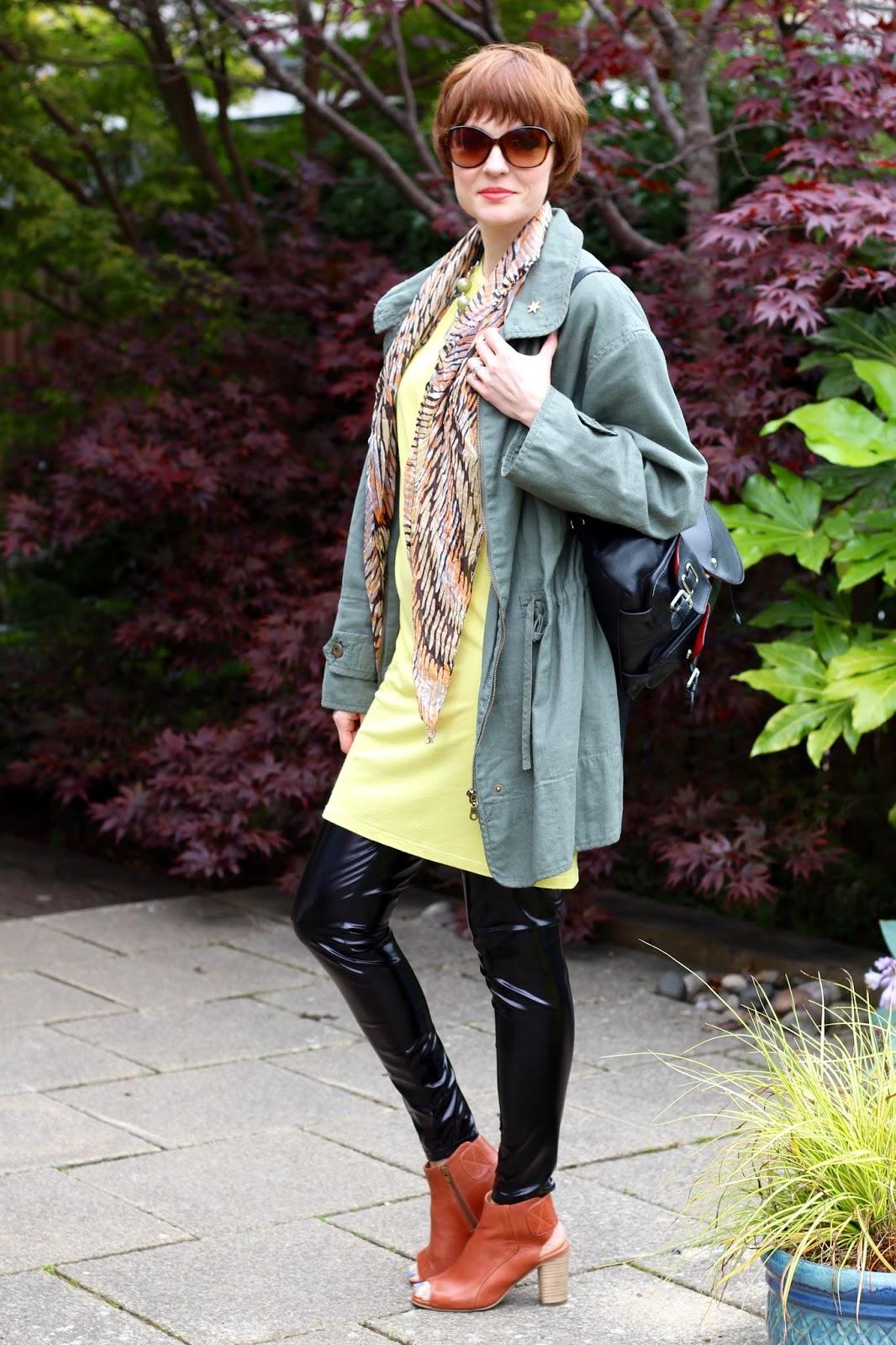 Fake Fabulous | A nod to Mod | Oversized Khaki jacket, yellow t-shirt dress, Black vinyl leggings, Tobacco peep-toe booties, over 40.