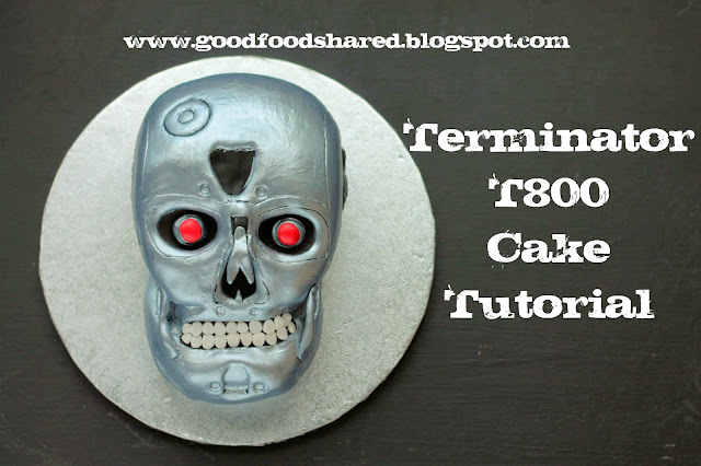 Hand carved Terminator T800 Skull Birthday Cake, step by step photographic instructions at my blog  www.goodfoodshared.blogspot.com