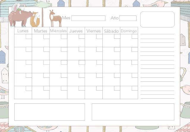 calendario, imprimir, imprimible, gratis, descargar, sin fechas
