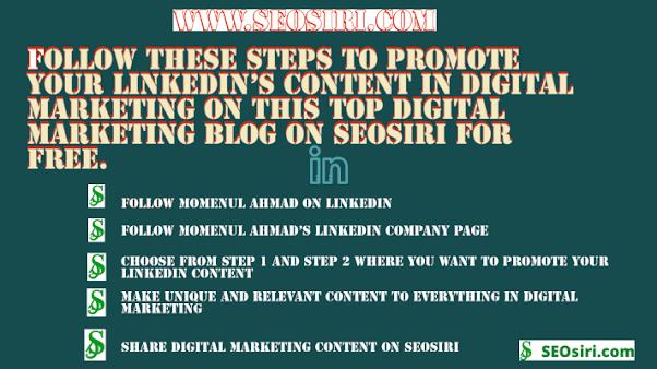 LinkedIn's Digital Marketing Content promotion