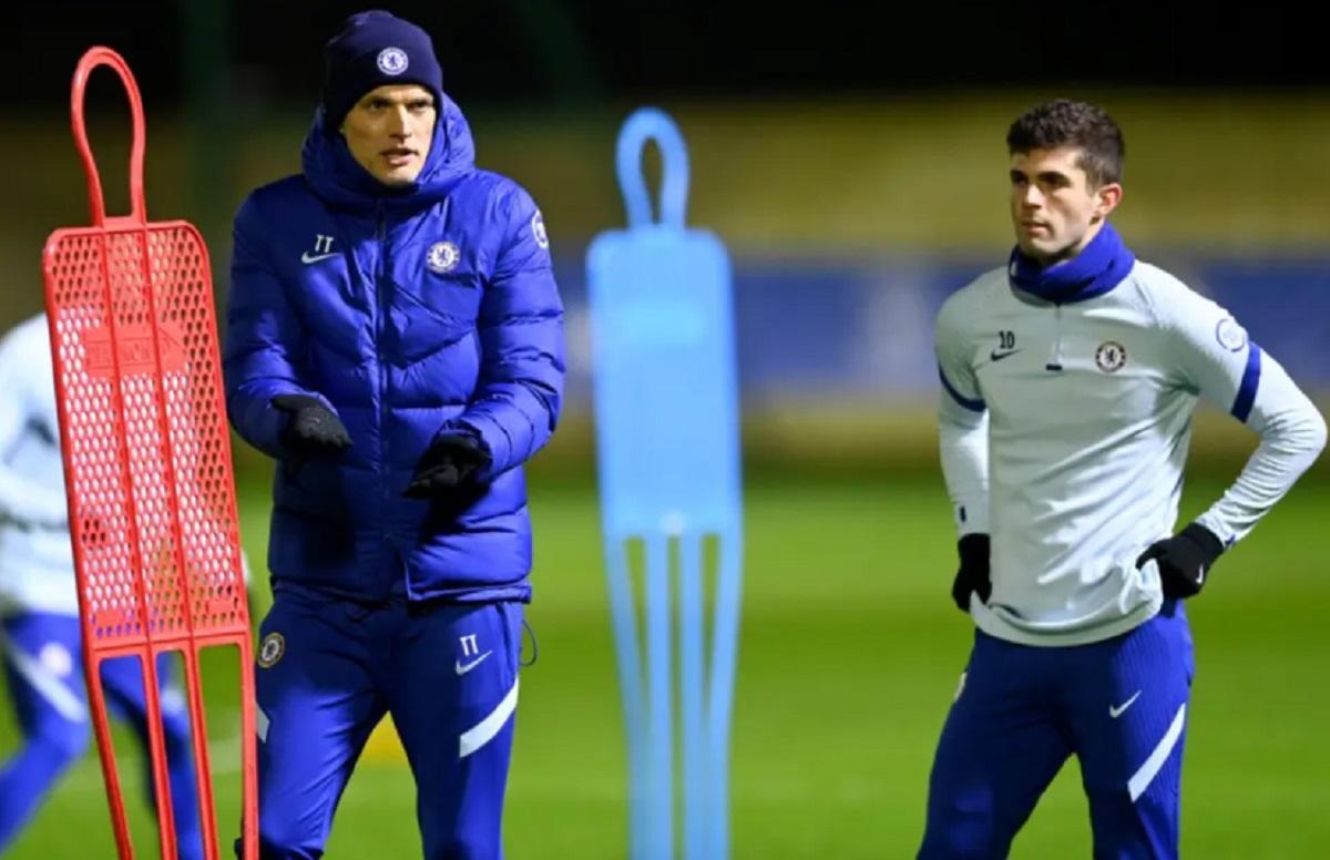 Christian Pulisic berlatih di Chelsea.