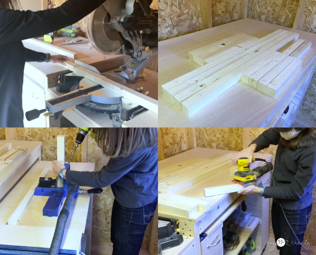 cutting wood, drilling pocket holes and sanding