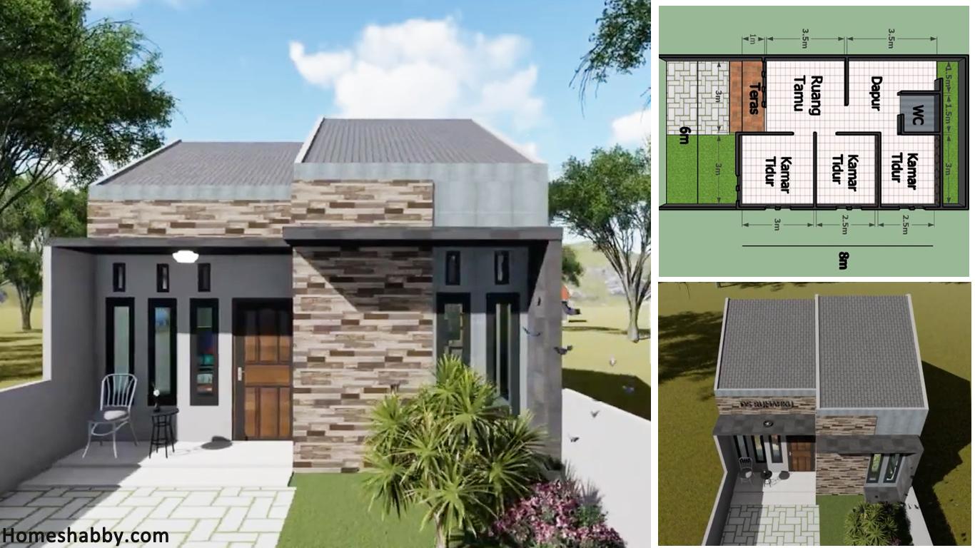Desain Dan Denah Rumah Minimalis Ukuran 6 X 8 M 3 Kamar Tidur Dengan Nuansa Abu Abu Homeshabby Com Design Home Plans Home Decorating And Interior Design