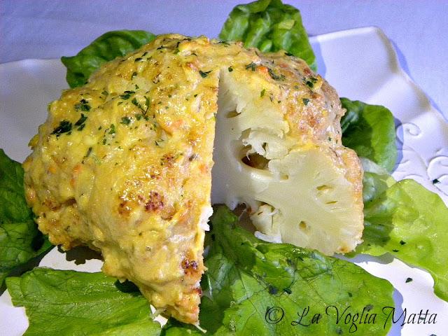 cavolfiore al forno con salsa al formaggio Asiago