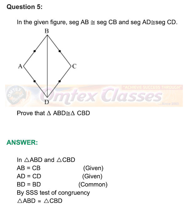 Chapter 3 - Triangles Mathematics Part II Solutions for Class 9 Math PRACTICE SET 3.2