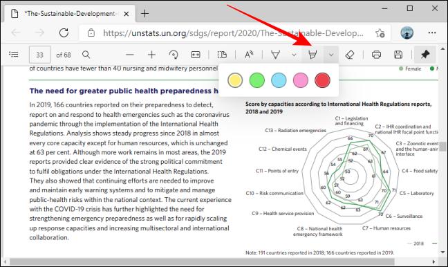 قم بتمييز خيارات ألوان الأداة في شريط أدوات PDF في Microsoft Edge