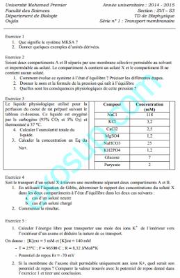 td exercices corrigés biophysique svi s3 + corrigé fso 2014-2015