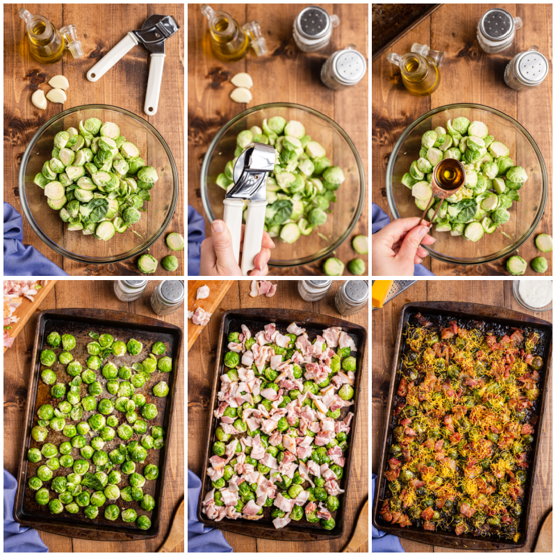 Compilation photo of process shots for making Cheesy Bacon Ranch Brussels Sprouts.