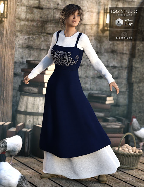 Peasant Dress for Genesis 3 Female