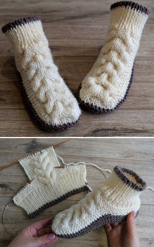 Wool Cable Slippers - Free Knitting Pattern