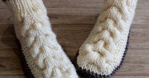 amazing knitting  wool cable slippers