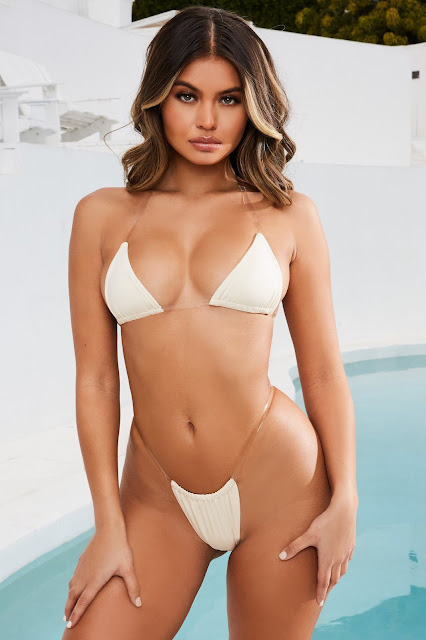 Skinny Dipping Clear Strap Micro Triangle Bikini Top in Cream
