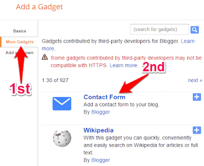 adding contact form gadget in blogger
