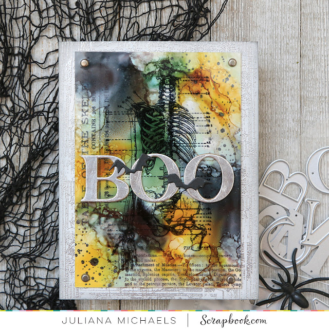 Boo Halloween Card by Juliana Michaels featuring Scrapbook.com Classic Alphabet Dies