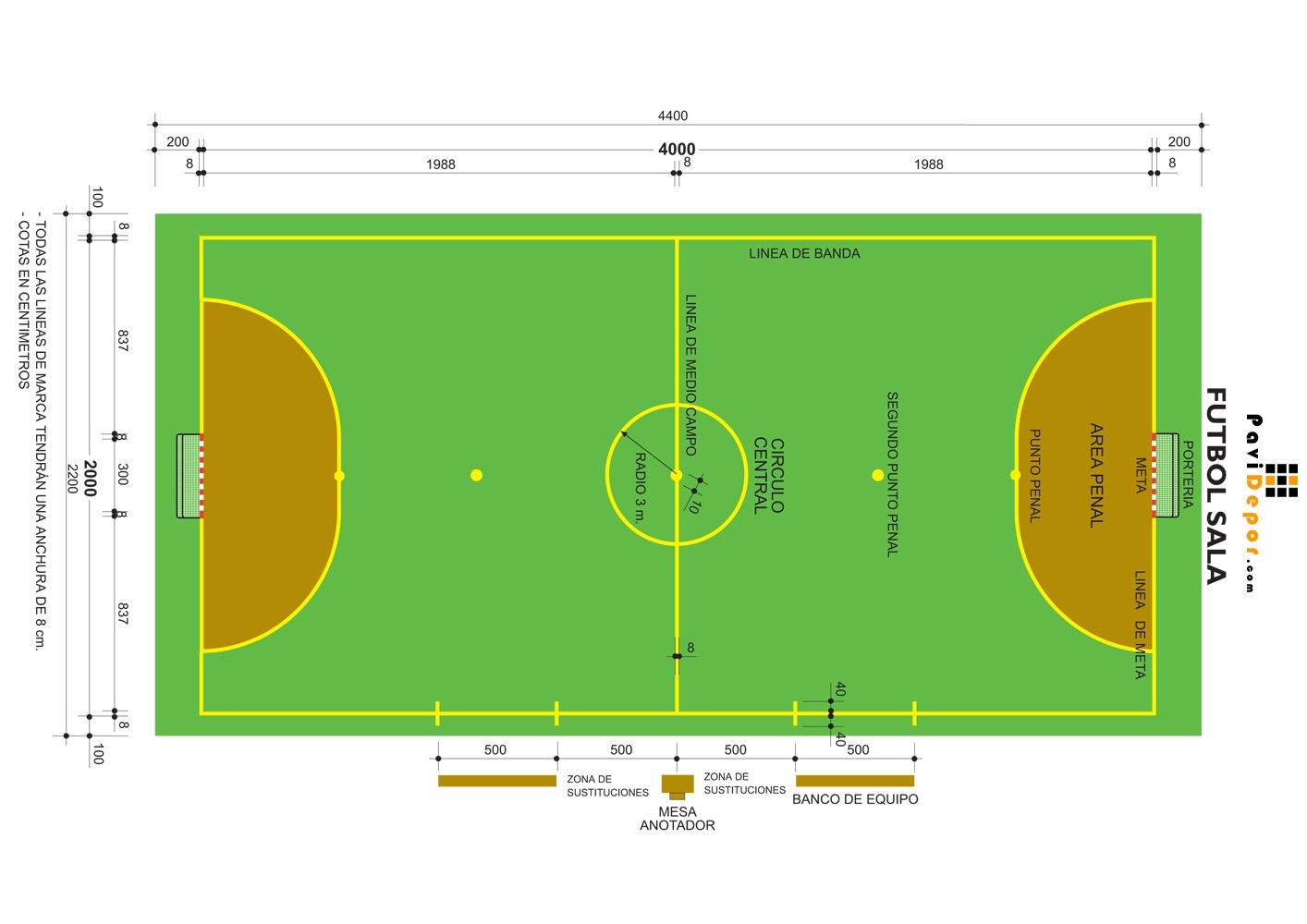 Imagenes de la cancha de futbol sala for Medidas en arquitectura pdf