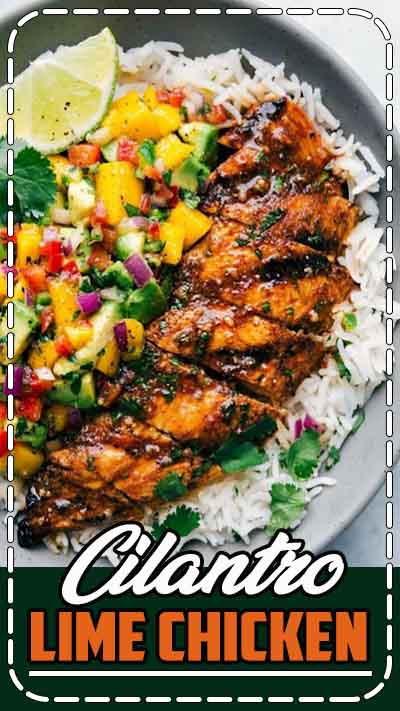 Cilantro-Lime Chicken with a Mango Avocado Salsa - This cilantro lime chicken is easy to make and packed with flavor! While the cilantro lime chicken can stand on its own, I've included accompanying recipes for a cilantro lime rice base and a delicious mango avocado salsa. This transforms this cilantro lime chicken into a tasty and healthy meal that is sure to be a hit. #avocado #healthyrecipe #recipe