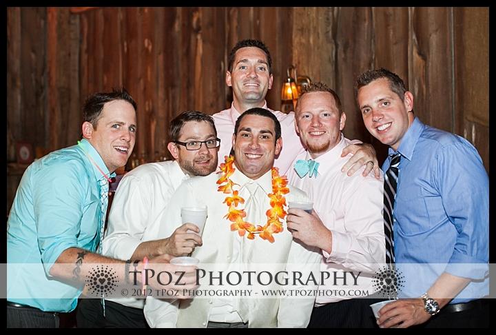 Guys at a wedding reception