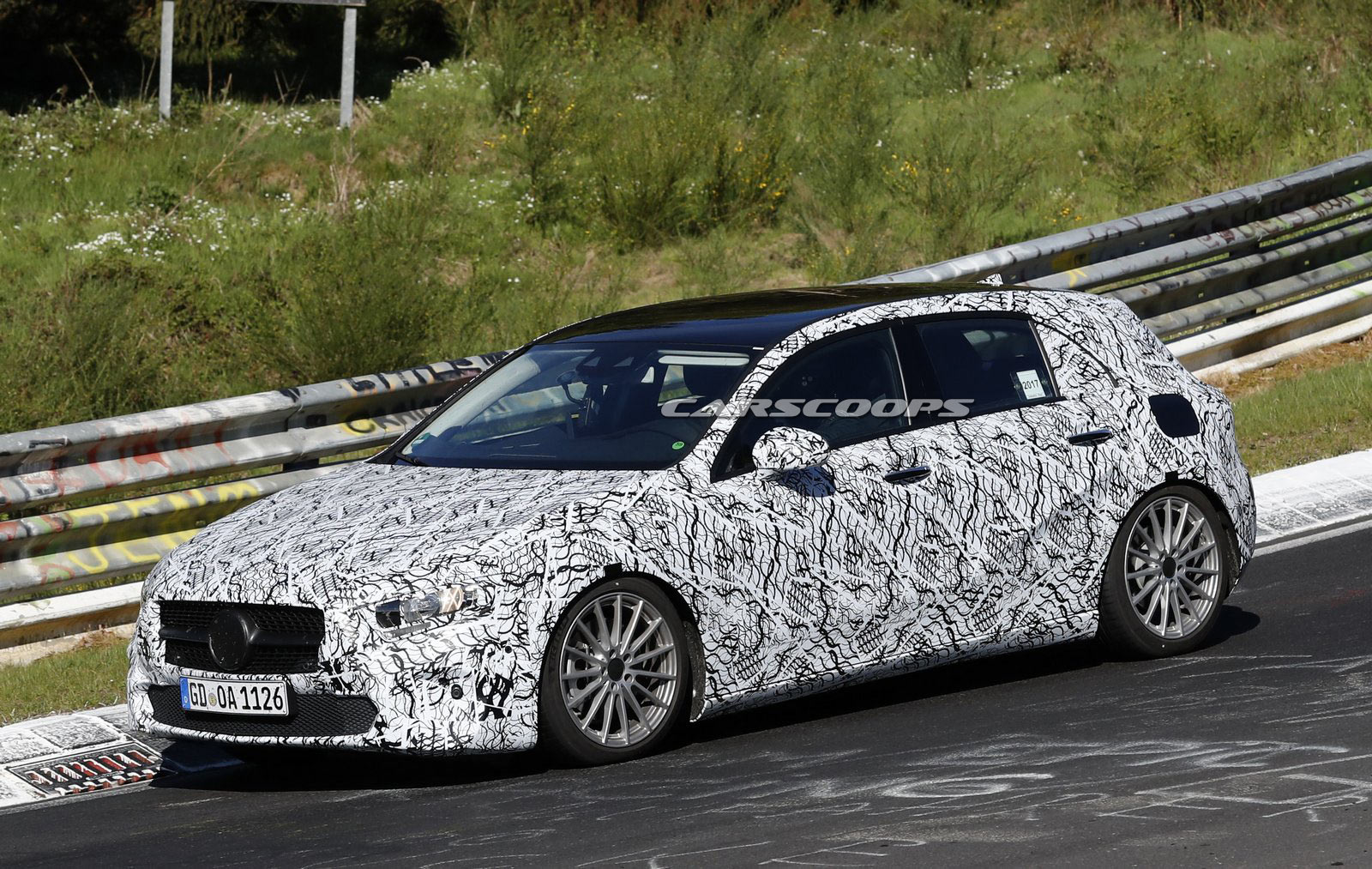 new mercedes a class spied with an s class style digital dash carscoops. Black Bedroom Furniture Sets. Home Design Ideas