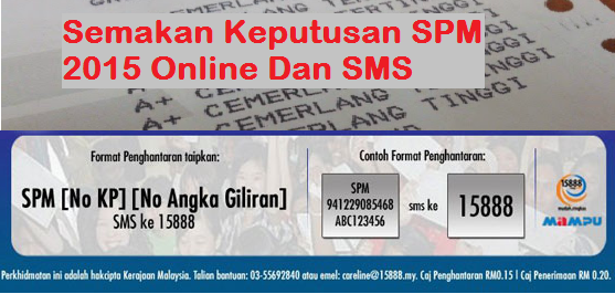 Semakan Keputusan SPM 2015 Online Dan SMS
