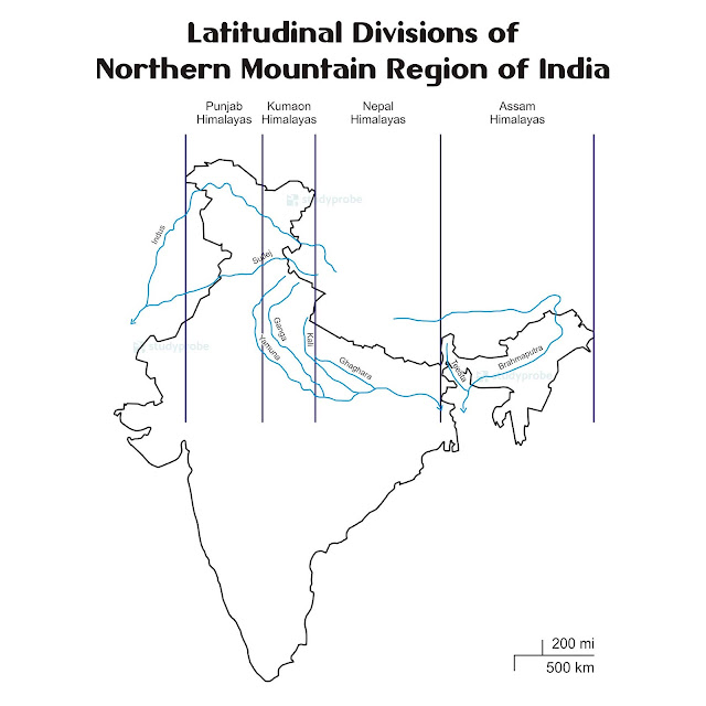 Latitudinal Divisions of Northern Mountains of India
