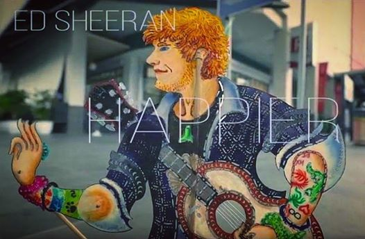 Muzik Video Ed Sheeran Happier Versi Wayang Kulit