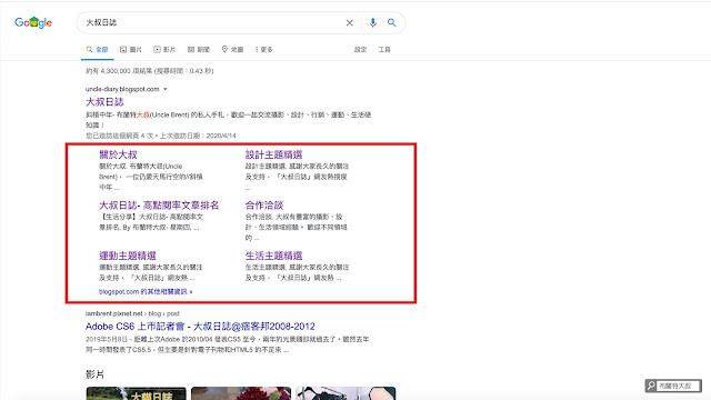 【大叔生活】大叔日誌 - 高點閱率文章排名 2020 - Google 搜尋出現網站連結 (Sitelink)