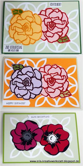 Grußkarten mit Mohnblumen und elegantem Gitter Stampin' Up! www.eris-kreativwerkstatt.blogspot.de