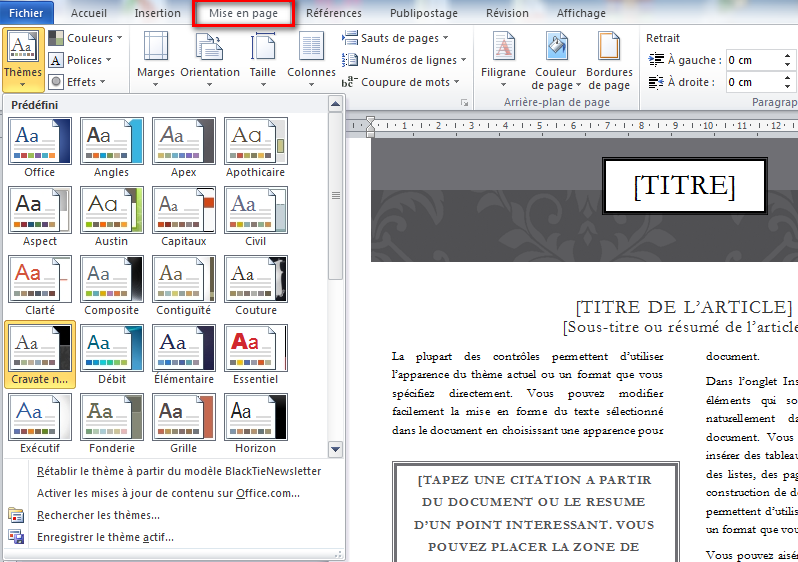 Créer un article de journal sur Microsoft Word - WayToLearnX
