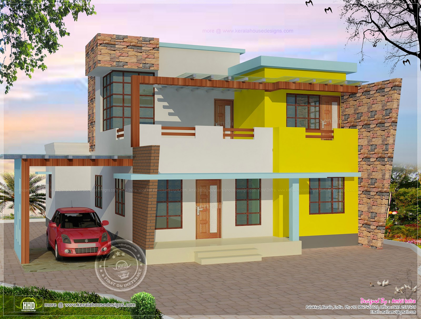 First Floor Elevation Models : Floor plan and elevation of flat roof villa kerala home